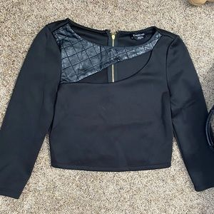 Asymmetrical black crop top